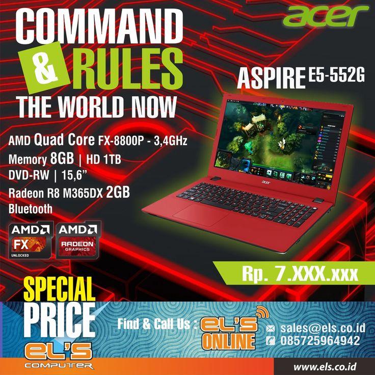Buat kalian yang lagi cari laptop gaming dengan harga yang bersahabat, kami merekomendasikan Acer Aspire E5-552G-F6X5.  Dapatkan disini >> http://goo.gl/uGnSSE