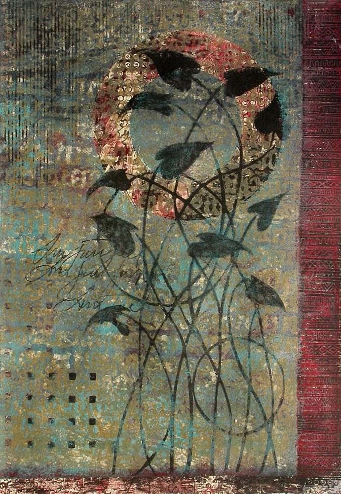 """""""Growing in Grace"""" monotype on paper by Anne Moore"""