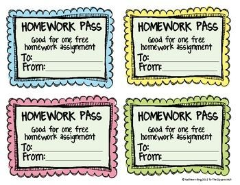 *Free* No Homework and Late Homework Passes: