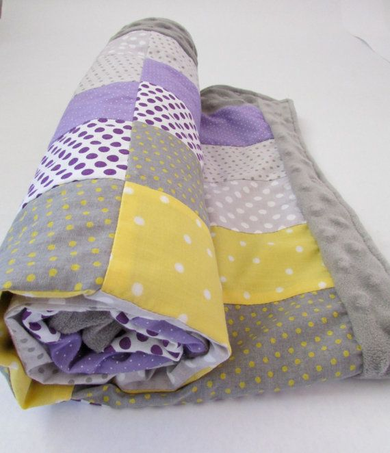 Purple Yellow and Gray Rectangle Baby Blanket by LovesLittleStitch