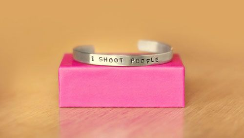 """I Shoot People"" - A bracelet for photographers. Kind of awesome but also kind of scary, right?"