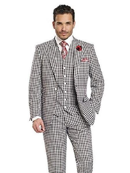 4f05c21ec59 SKU#SM3478 Men's 1 Button Houndstooth Tweed 3 Piece Check Black ...