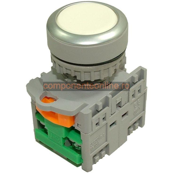 Push buton fara retinere, 2 contacte, alb - 125040