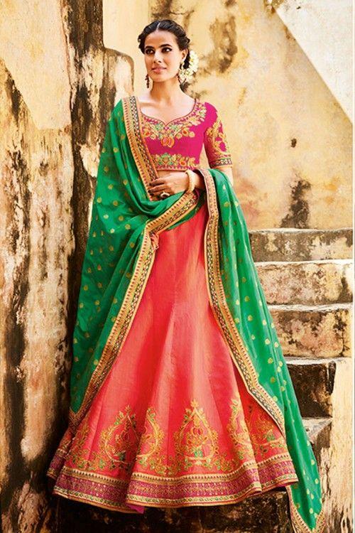 Peach tussar silk lehenga with tussar silk choli online http://www.andaazfashion.co.uk/womens/lehenga-choli