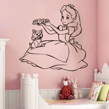 Alice In Wonderland Wall Decal Vinyl Sticker Cartoon Wall Art Design Housewares Room Bedroom Decor Removable Wall Mural # T432(China (Mainland))