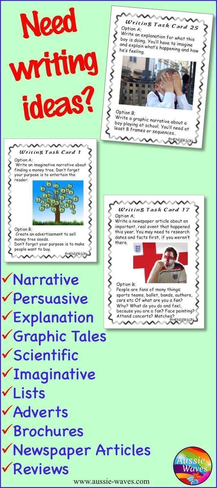 Writing Task Cards Using Picture Prompts Writing Task Cards Writing Tasks Elementary Writing Prompts [ 1620 x 720 Pixel ]