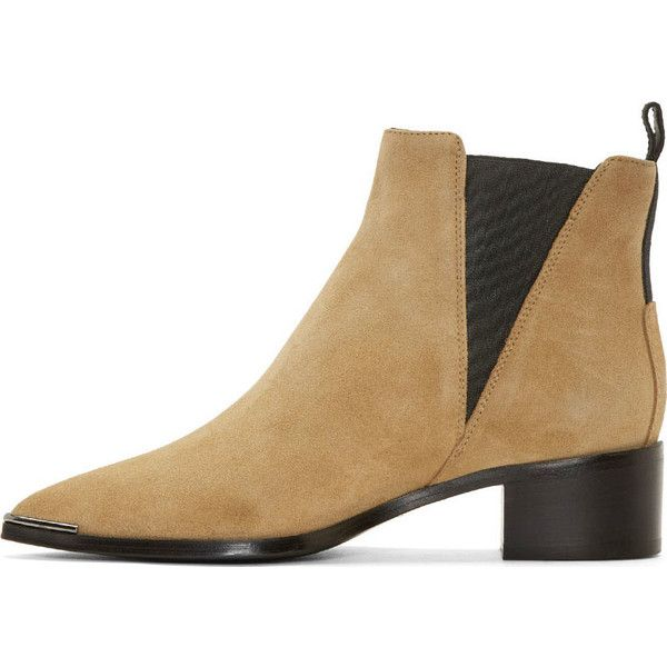 Acne Studios Beige Suede Jensen Ankle Boots ($335) ❤ liked on Polyvore featuring shoes, boots, ankle booties, pointy toe booties, beige ankle boots, beige suede booties, beige ankle booties and beige booties