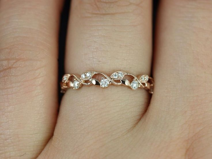 Rosados Field Daphine 14kt Rose Gold Skinny Weaving Leaves Diamonds Berries Midway Eternity Band