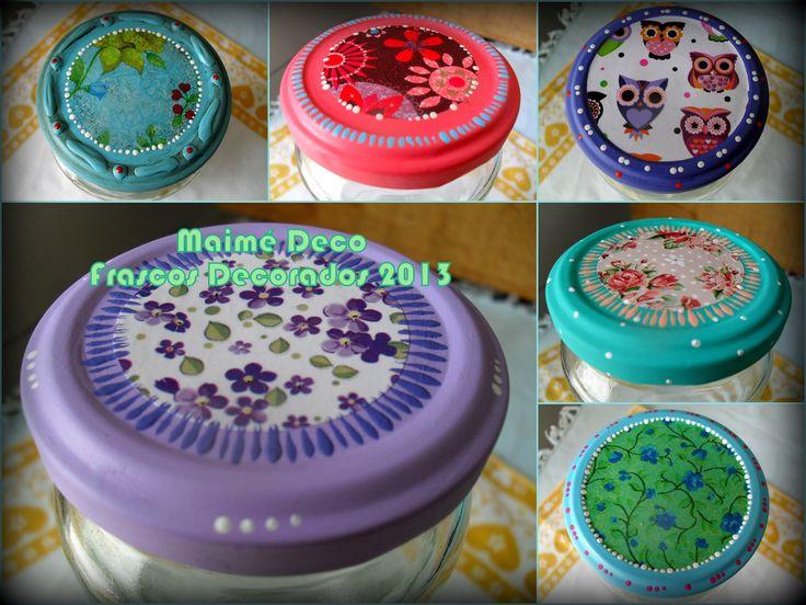 Ex frascos de mermelada decorados intervenidos con - Pintura para decoupage ...