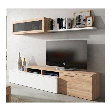 Mueble de salón para tv blanco, roble