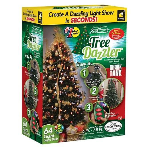 • For indoor use<br>• 15 settings<br><br>With the As Seen On TV Tree Dazzler, simply place the light ring on top of any Christmas tree, position the vertical strands of bulbs, and you're ready to start the show! These Christmas tree lights have light patterns and color choices that can be changed with just the touch of a button.