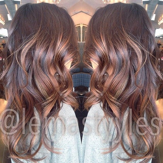 #ShareIG gave her suuuuper gorgeous multidimensional balayage highlights with different chocolaty and golden tones to add some ✨ in her hair literally obsesssed! #balayage #hairbylema #kuthaus