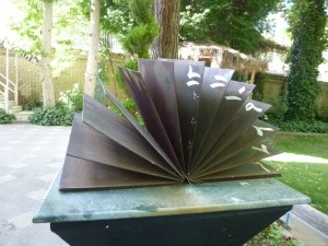 """I discovered this """"book"""" at the Museum of Time in Tehran. It's a sundial - each page marks an hour. Clever huh?"""