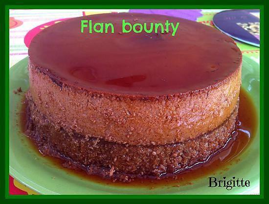 La meilleure recette de FLAN  BOUNTY au COOKEO! L'essayer, c'est l'adopter! 5.0/5 (2 votes), 4 Commentaires. Ingrédients: 1 boite de lait concentré sucré 2 fois la valeur de lait (j'ai mit lait entier) 4 œufs 100 gr de noix de coco (j'en mettrai peut être moins la prochaine fois) 100 gr de chocolat noir à 70 % caramel