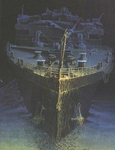 Hull of the Titanic shipwreck