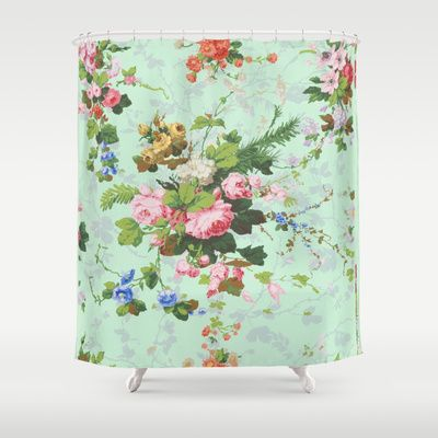 Antique romantic vintage 1800s Victorian floral shabby rose flowers pattern aqua mint hipster print shower curtain