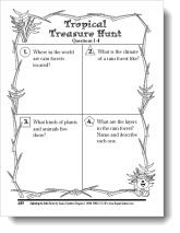 Tropical Treasure Hunt - Internet search activity to learn about the rain forest - Students work alone or in cooperative learning teams to research and answer the questions. Includes links to great rain forest resources!