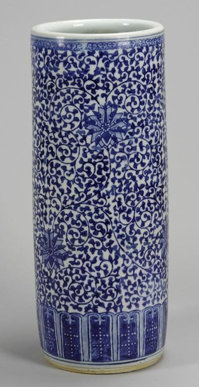 Chinese Blue and White Umbrella Stand       COULD USE TO HOLD DRAWING PLANS
