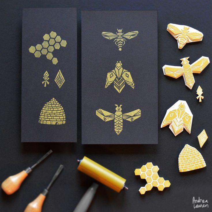 Block Print Bees by Andrea Lauren Instagram
