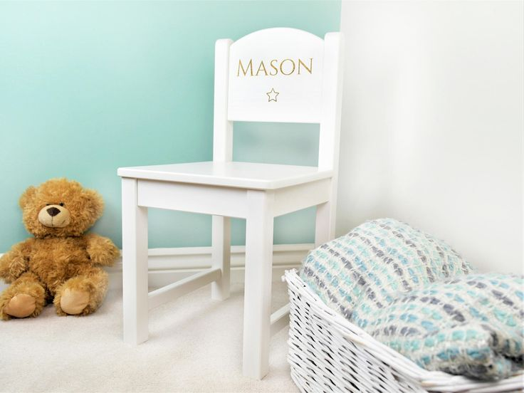 Personalised Childrens White Wooden Chair  Made from traditional solid pine with a contemporary white stain, this chair is tastefully engraved with your choice of name. This classic, timeless and gender neutral piece of furniture will make a stunning addition to any room in the house. What's more with it's wipe clean acrylic coating, this chair is practical for little people!
