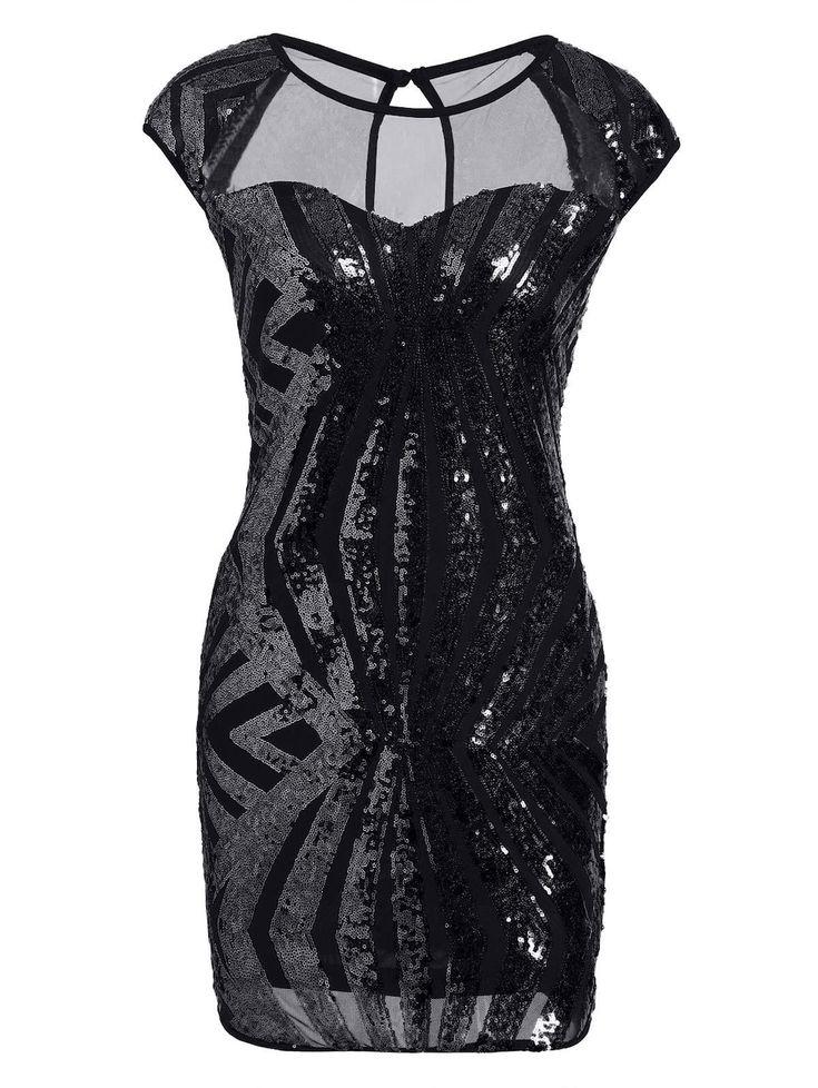 Mesh Insert Sequin Bodycon Club Dress - BLACK M