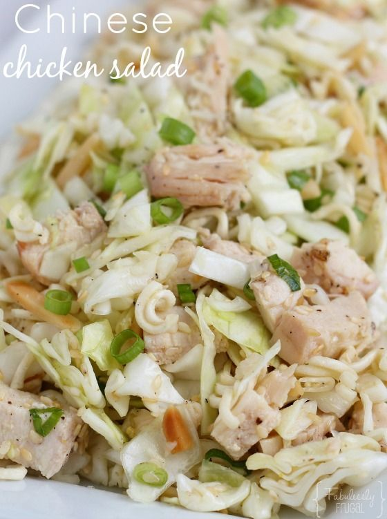 Easy Chinese chicken salad with Ramen noodles! You can serve it as the main dish or a side dish. Perfect for a potluck or party too!