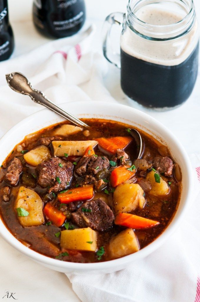 Get ready for St. Patrick's Day with this rich and hearty Guinness Beef Stew! #CrockPot