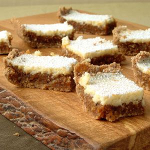 """Fig and Cream Cheese Bars: With the honeyed flavor of dried figs, a sweet cream cheese layer, and a buttery, crumbly crust, these bars garnered our Test Kitchens' highest rating. Store leftovers in an airtight container in the refrigerator for up to five days."" -- Also included in a collection of ""100 Healthy Cookies"" here: http://www.cookinglight.com/entertaining/holidays-occasions/healthy-christmas-recipes-kids-00412000068636/page26.html"