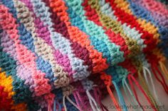 Lazy Waves Blanket Pattern free crochet patterns Photo Love the colors. I'll probably have to order the yarns though.