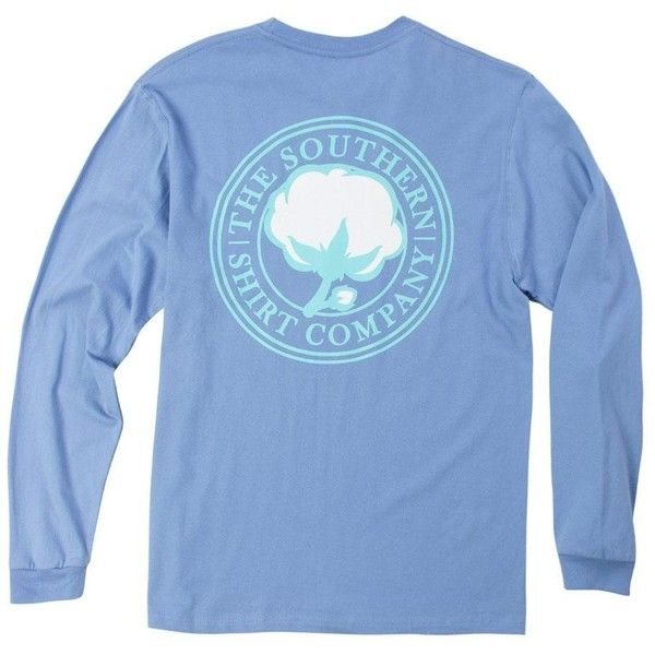 Southern Shirt Co Longsleeve Signature T-Shirt ($13) ❤ liked on Polyvore featuring tops, t-shirts, longsleeve shirt, long sleeve tee, long sleeve tops, blue tee and preppy shirts