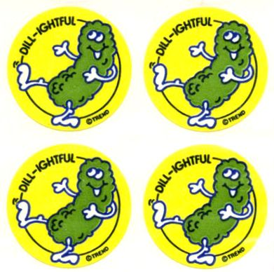 Scratch and Sniff pickle stickers.