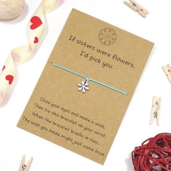Sisters Wish Bracelet Friendship Bracelet Sister Jewellery Etsy In 2021 Wish Bracelets Sister Jewelry Flower Charm