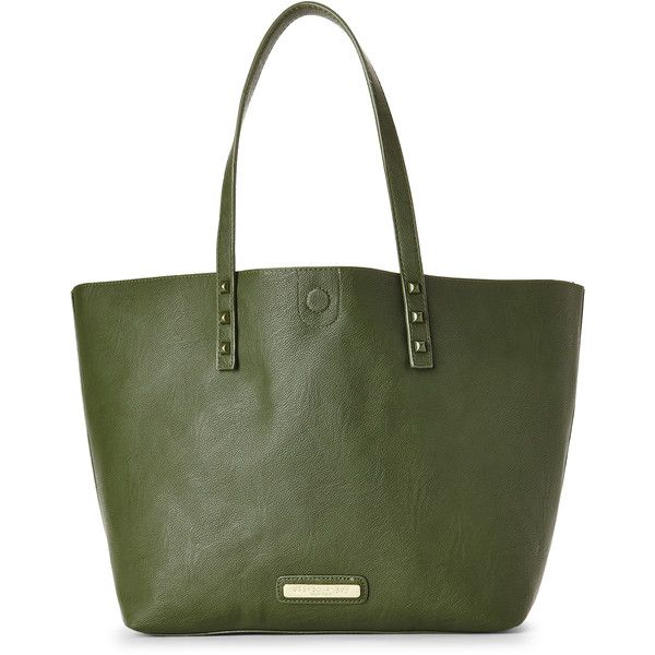 Olivia + Joy Army Green & Eggshell Evelyn Tote ($40) ❤ liked on Polyvore featuring bags, handbags, tote bags, beige, leather tote bags, faux leather purse, green leather handbag, faux leather tote bag and handbags totes