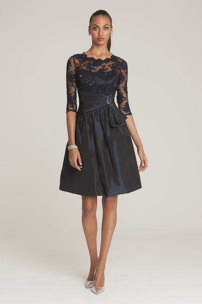 Lace and Taffeta Belted Dress