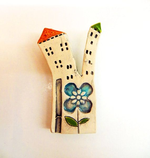 Happy House brooch Little Ceramic house brooch Miniature by GUDAR