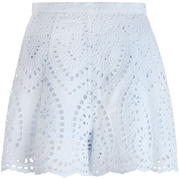 ZIMMERMANN Epoque Broderie Flare Short ($315) ❤ liked on Polyvore featuring shorts, zimmermann, flared shorts, short swim shorts, swim shorts and embroidered shorts