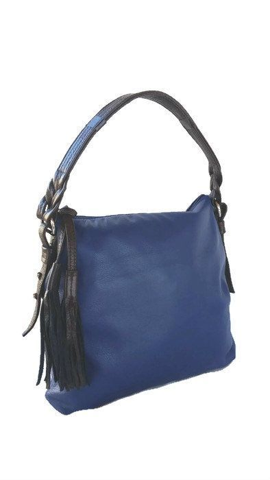 Bright Blue Leather Hobo Bag In Two Tones Hobopurse