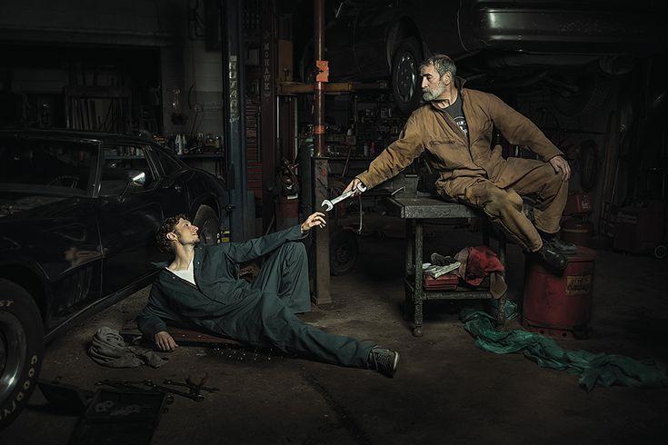 Freddy Fabris | Potraits of Auto Mechanics as Renaissance Paintings - Creation of Adam