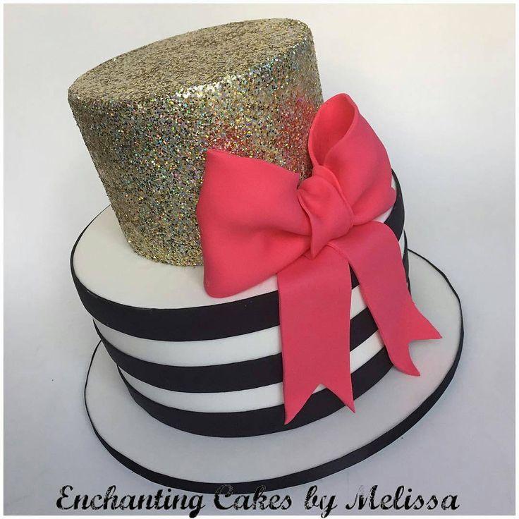 Isn't this birthday cake by @enchantingcakesbymelissa just gorgeous!  We love the elegant black & white stripes, gold glitter design and the red bow is so pretty!  #cakestagram #instacake #cakes #stripes #glitter #membershare #Regrann