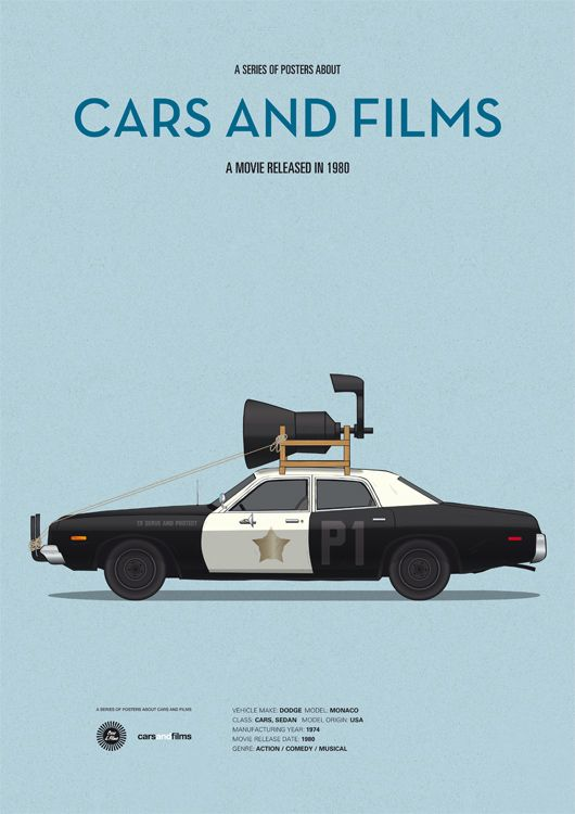 Poster of Blues Brothers car. Illustration Jesús Prudencio