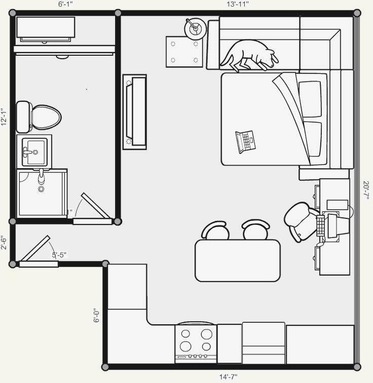 One Bedroom Efficiency Apartment Plans Elegant Glamorous Floor