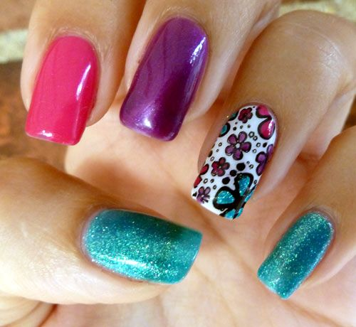 Chickettes.com: Daisy stamp with colorful Gelish polishes ...
