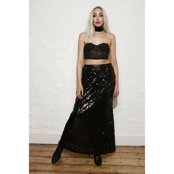 Sassy black sequin maxi skirt (€48) ❤ liked on Polyvore featuring skirts, sequin skirts, ankle length skirts, vintage maxi skirt, floor length skirt and long skirts
