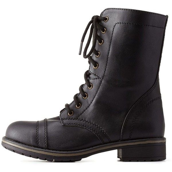 Charlotte Russe Black Lace-Up Combat Boots by Charlotte Russe at... ($43) ❤ liked on Polyvore featuring shoes, boots, ankle booties, black, army boots, black booties, lace up boots, chunky black booties and lace up booties