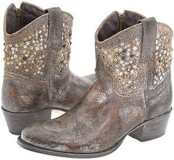 Women's Designer Cowboy Boots Frye Deborah Distressed Gray Studded Western Style Flat Ankle Boots Fall Winter 2009 2010 Picture