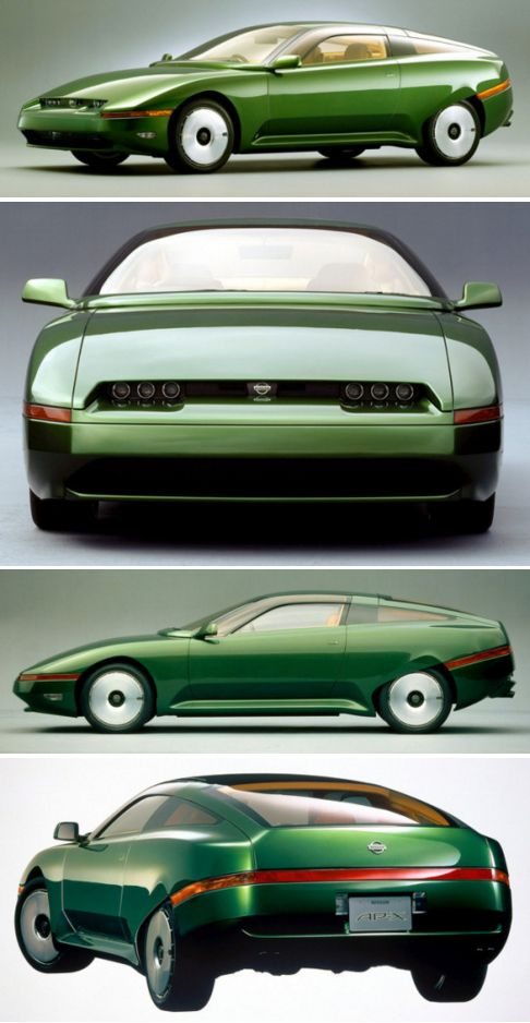 Nissan AP-X, 1993. A concept car designed by Marcello Gandini with a 0.20 drag co-efficient powered by a V6 engine which was supposed to combine driving pleasure with responsibility