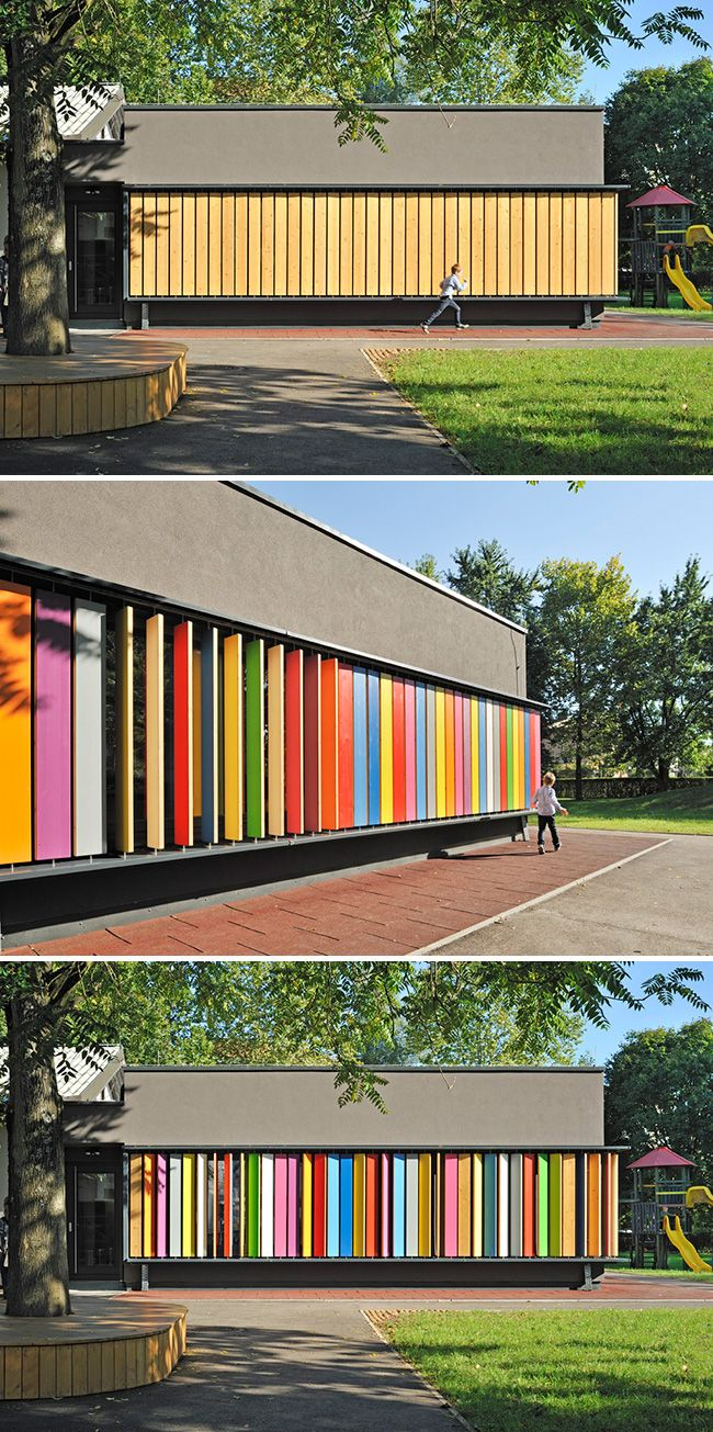 Rotating vertical shutters create colourful and interactive exterior