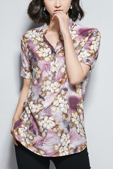 Baycheer / Womens Summer New Chic Floral Printed Button V-Neck Short Sleeve Relaxed Linen Blouse Top