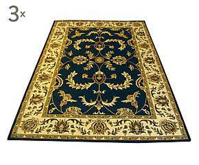 Parure di 3 tappeti Ziegler blu - max 80x150 cm