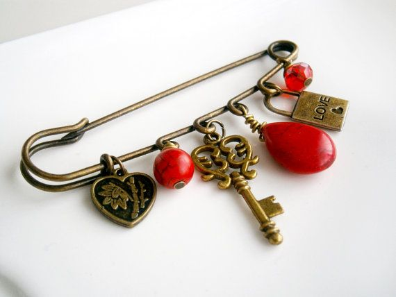 Safety pin brooch Vintage brooch Red and Bronze Key lock heart turquiose swarowski coral Valentine's day